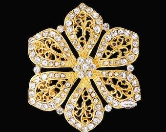 Gold Rhinestone Brooch Embellishment - Flatback - Rhinestone Broach - Brooch Bouquet - Supply - Flower - Wedding Jewelry Supply - RD234