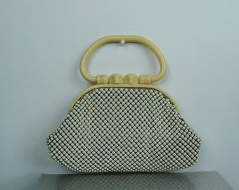 50s Whiting and Davis Purse - Vintage 1950s Celluloid Frame & Top Handle Alumesh Handbag