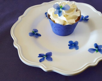 Edible Violets, Wafer Paper Toppers for Cakes, Cupcakes or Cookies