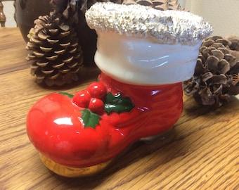 Santa Boot Bank ceramic 1960's vintage Christmas