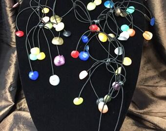 Rubber Necklace  Mini Petals  Multi-Color
