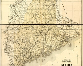 Poster, Many Sizes Available; Railroad Map Of The State Of Maine 1899