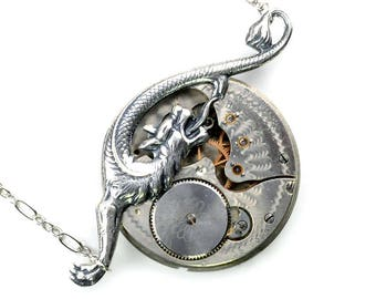 Steampunk Early 1900's Pocket Watch Movement and Serpent Dragon Necklace