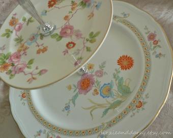 2-Tier Vintage China Orange Floral Chintz Tea Cake Stand Cupcake Server