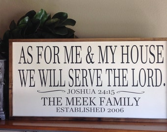 Large Sign, As for me and my house, Scripture Wall Art, Farmhouse Style Sign, Personalized Sign, Wood Sign Saying, Inspirational Sign