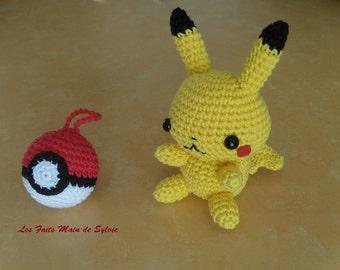 Pikachu and his Pokeball crochet