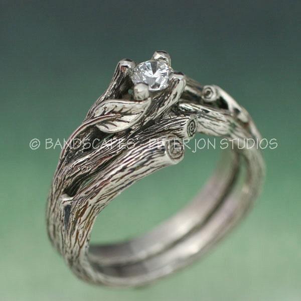 ACADIA WEDDING RING Set Twig Engagement Ring Matching