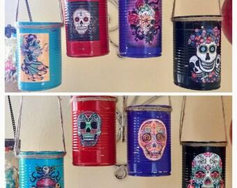 Day of the Dead Día de los Muerto Decoration Can Vase Centerpieces Wedding Party Decor Sugar Skull Halloween Gothic Goth Mexican Art Gift