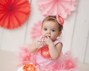 Pink and Coral Tutu Dress | 1st Birthday Outfit