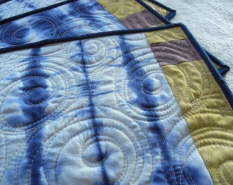 Indigo Hand-dyed Quilted Placemats - set of 4 - Waves (01)