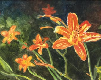 Daylilies Original Watercolor Painting