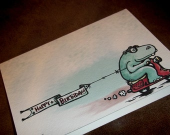 Birthday Card Happy Hippo Scooter Card 5x7 Greeting Card by Agorables Rulers of the Gift Card