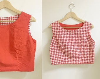 2 sides houndstooth cap sleeves top red s/m