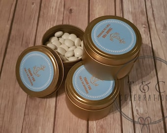 Personalised gold tin favours