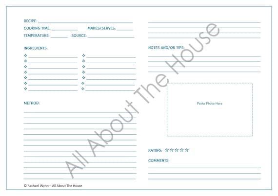Printable Recipe Sheet Template Meal Planning Product