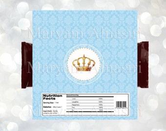 Royal crown theme chocolate Bar Wrapper , royal party favor,blue, INSTANT DOWNLOAD ,DIY . Digital file