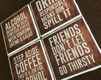 Stern funny messages - Tile Coasters hand-made great gift for anyone with a sense of humor!