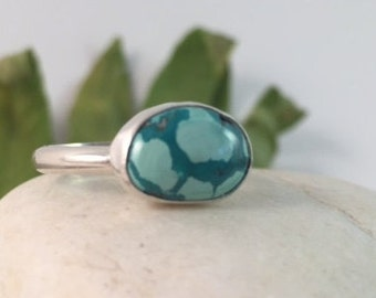 Turquoise Ring, Size 7 1/2, Sterling Silver, December Birthstone, Rustic, Boho, Gypsy, Stacker