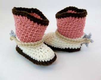 Cowboy Baby  Booties with Spurs Brown Pink & Natural  Crochet Cowboy Boots