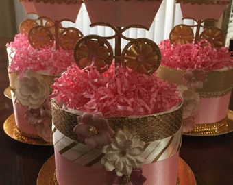 Pink and Gold Mini Carriage Diaper Cake/Baby Girl/Mother-To-Be Shower Gift/Baby Shower/Baby Girl/Diaper Cake