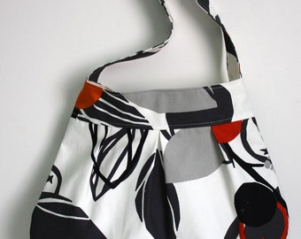canvas shoulder bag // pleated cotton purse // white black and orange fruits // the charlie bag // READY TO SHIP