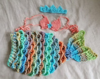 Aqua Mermaid Tail Costume Ready To Ship,3-6 Month Mermaid Tail Costume,Ariel Inspired Mermaid Tail Crochet Costume,Crochet Mermaid Tail