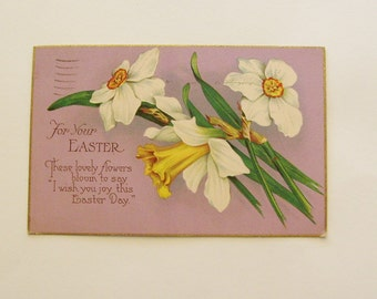 Antique Easter postcard daffodil flowers and poem purple floral post card holiday post card vintage ephemera