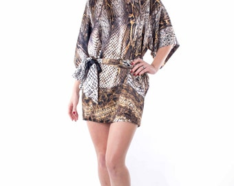 silk dress mini, snake skin print, gold, black, white, silk belt, small