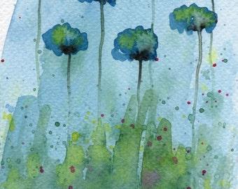 Watercolor Painting: Watercolor Flower Painting -- Art Print --  Uncertain Doubt -- Aqua Flowers -- 5x7