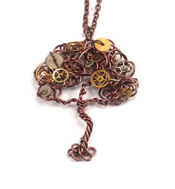 Wire Tree Pendant with Watch Gears Steampunk Gear Tree