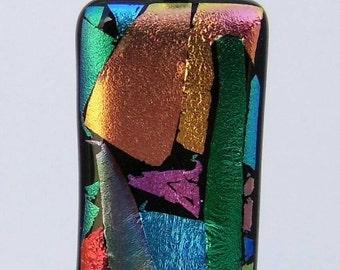 Mosaic style dichroic glass pendant