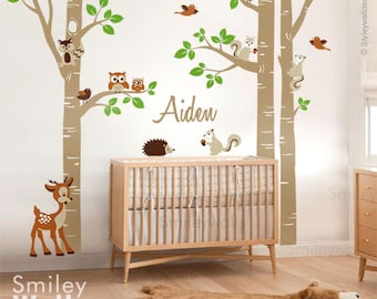 Birch Trees And Animals Wall Decal, Woodland Animals Trees Wall Decal,  Birch Trees Sticker