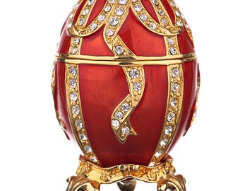 Russian Faberge Style Egg / Trinket Jewel Box with Bow-knot 7.5 cm (3'') red