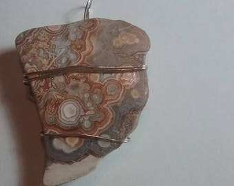 Mexican Crazy Lace Stone Slab shaped Wire Wrapped Pendant