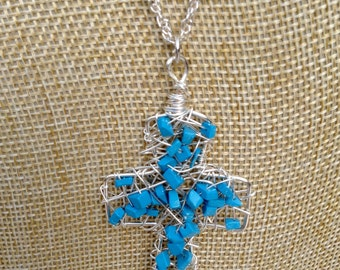 Chunky Wire Cross with Turquoise Gemstones