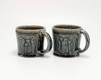 Handmade Americano Mugs with blue ash glaze