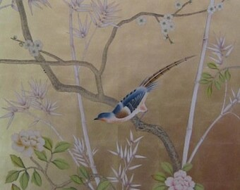 Chinoiserie handpainted wallpaper on gold metallic leaf one standard roll of 3 by 8 ft, custom size available