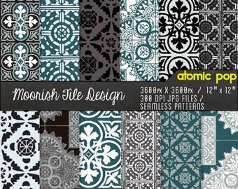 Teal Moorish Ethnic Mosaic Tile Digital Paper Pack// Instant Download Seamless Tile Patterns // Digital Scrapboking