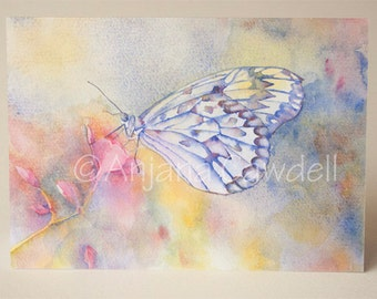 Butterfly - Blank Greetings Card, Watercolour Card, Watercolor Card, Butterfly Card