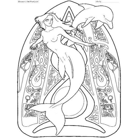 Sirena para colorear página pas de deux 01