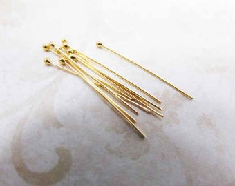 Bali 24k Gold Vermeil 30mm 27 gauge Ball Tipped Headpins (10 pieces)
