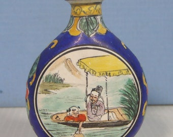 Antique copper cloisonne enamel snuff bottle cobalt blue c.late Qing 1910-30