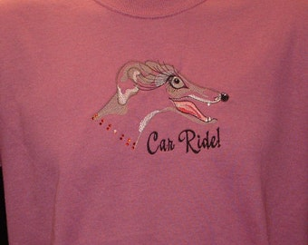 SS7 Embroidered Greyhound T shirt with Swarvoskj Crystals- Car Ride.