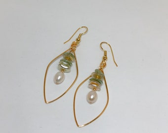 Gold Leaf Shaped Hoop Earrings, with Dangled Sage, Ivory colored glass beads, and Ivory colored Pearls. Handcrafted in Hawaii