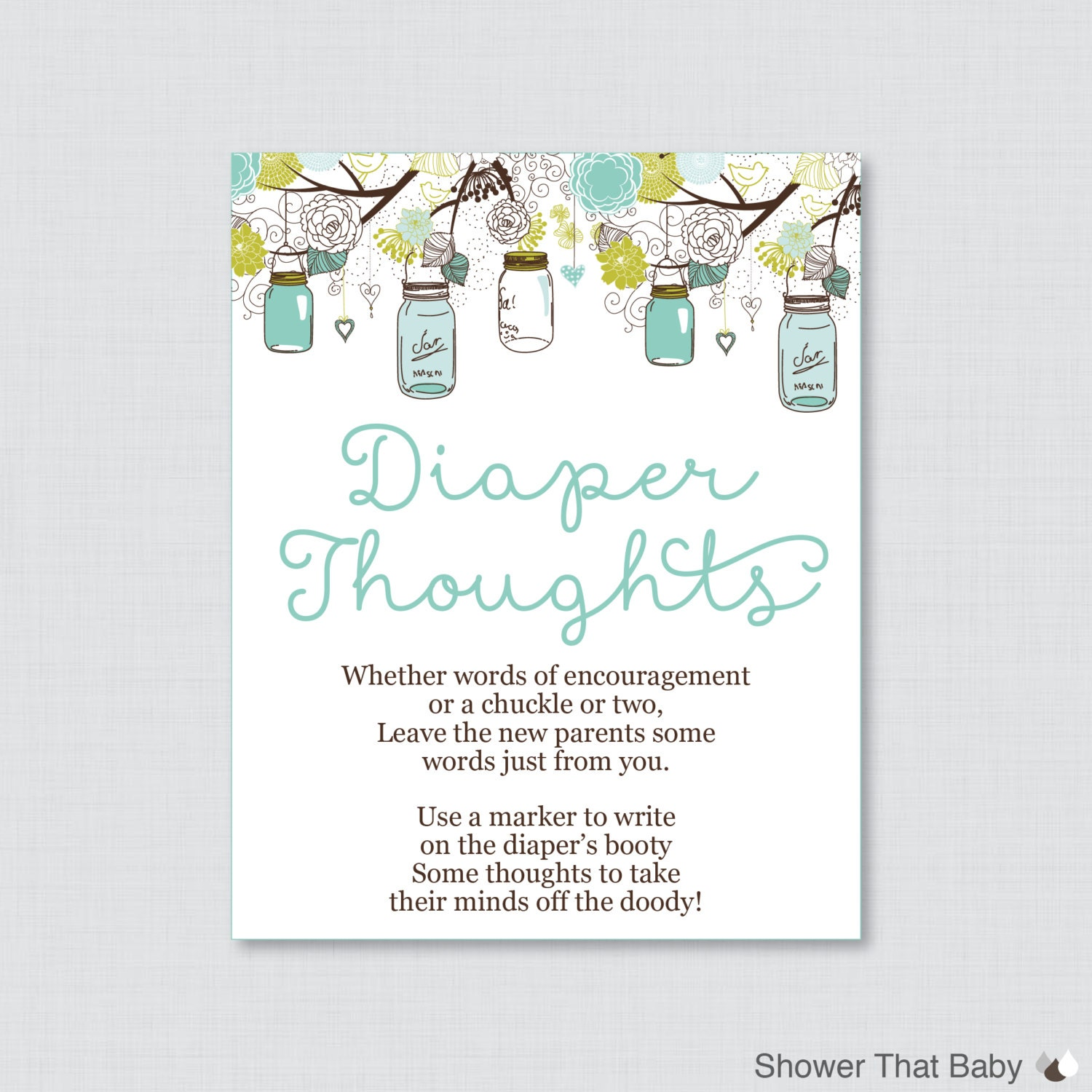 Baby Shower Diaper Thoughts Game Mason Jar Baby Shower