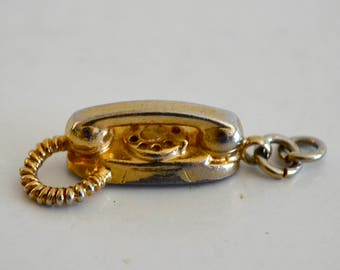 Vintage Princess Telephone Gold Tone Metal Charm