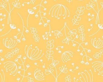 Fabric by the yard- Cotton quilting fabric- Art Gallery Bedside Journal Sunny- yellow floral fabric- nursery or little girl quilting