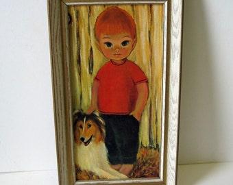 vintage 60s MOD Big Eyed Boy and Collie Dog in White Wooden Frame