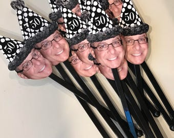 Over the hill birthday hat photo drink stirrers NEW . Set of 12 with Any age added