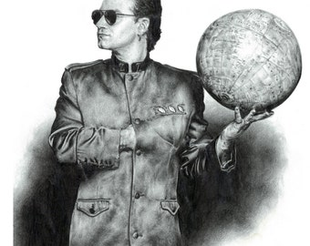"U2's Bono 8x10"" Pencil Illustration Print - Irish, musician, singer, Joshua tree, Zooropa, Unforgettable Fire, Achtung Baby, Dublin, Ireland"